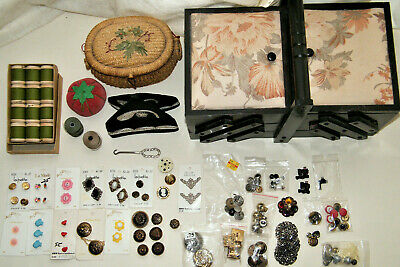 Huge Mostly Vintage SEWING NOTIONS LOT: Baskets (1 FULL)~Thread~Buttons & Covers