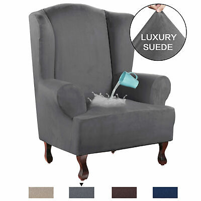 Stretch Wing Chair Cover Velvet Plush Water Repellent Suede Fabric Slipcovers