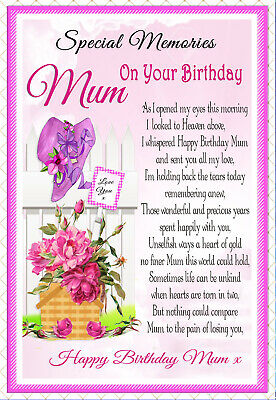 Mum Graveside Memorial Birthday In Memory Rememberance Keepsake Card &  Holder