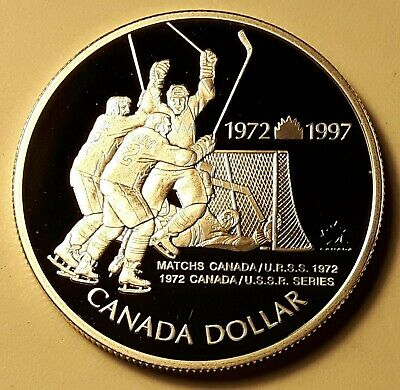 1997 RCM CANADA 72 USSR Hockey  0.925 Silver Proof One Dollar UNC Coin COA WBD17