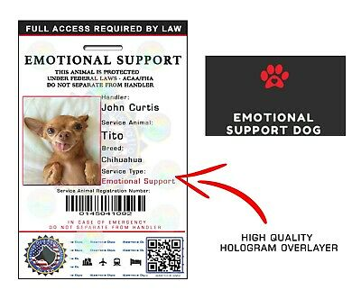 Holographic Emotional Support Animal (Esa) Id Badge Service Dog Id Card