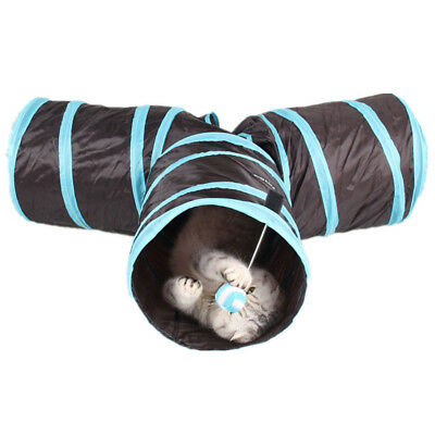 Folding Pet Cat Tunnel Kitten Outdoor Indoor Interactive Training Play Toy