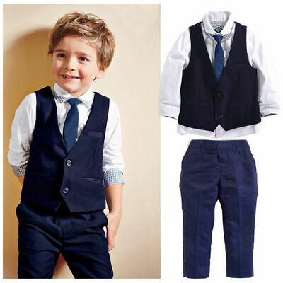 AU Fashion Toddler Kid Boy Tops Waistcoat Pants Formal Suit Outfit 4Pcs Set 1-7Y