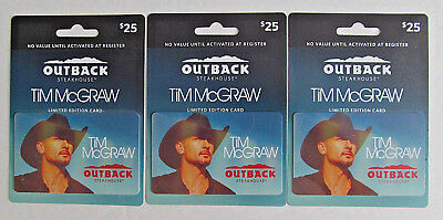 3 OUTBACK STEAKHOUSE GIFT CARDS  - TIM McGRAW , NO VALUE , GREAT COLLECTABLE