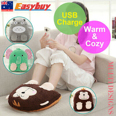 New Warmer Foot Warmer&pillow Heater Slippers Plush Toy Home Office USB Shoes