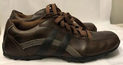 SKECHERS MEN'S TALUS BURK Smooth Leather Oxford Brown New in