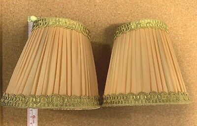 Small Vintage Lampshades X 2 Gold Fabric And Trim