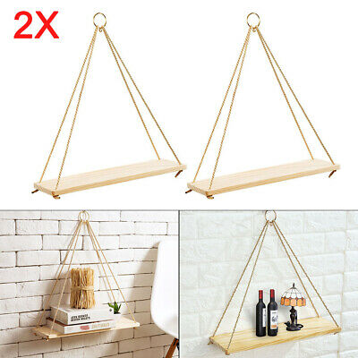 2 Rustic Solid Wood Rope Hanging Wall Shelf Vintage Storage Floating Home new