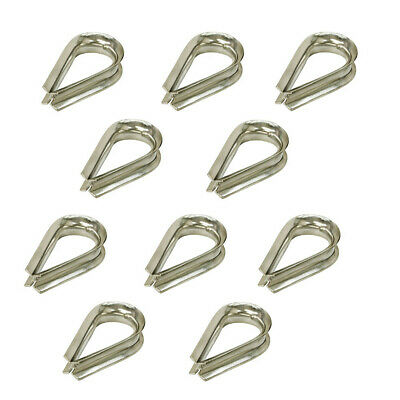 "10 Pc 5/16"" LIGHT DUTY Stainless Steel 316 Marine Wire Rope Chain THIMBLE Rig"