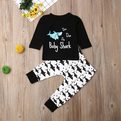 AU Autumn Toddler Infant Baby Boys Clothes Long Sleeve Tops+Shark Pants Outfits