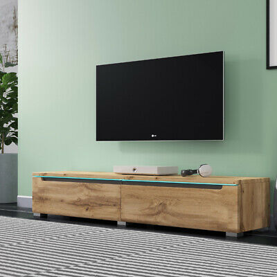 Meuble Tv Suspendu Meuble Tv A Poser Swift 140 Cm Chene Wotan Led Optionnel