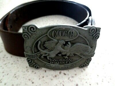 Cougar Bourban Whisky Buckle & Leather Belt