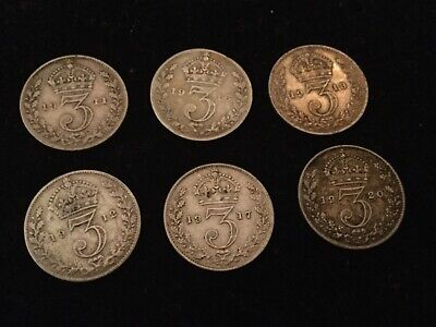 King George V Coins 6 x threepence