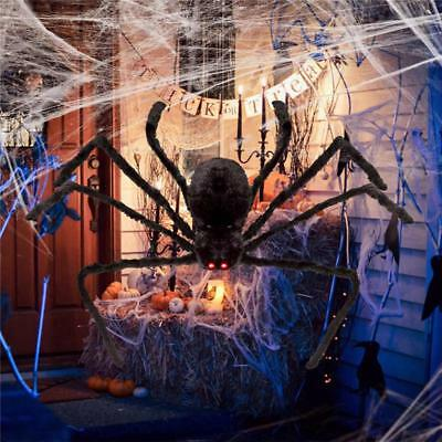 200CM Plush Giant Black Spider Decoration Halloween Haunted House Garden Prop US