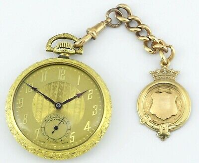 Mint Vintage TIMES WATCH CO Swiss Size 12 Gold Pocket Watch And Fob Set