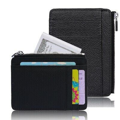 RFID Blocking Sleeves Pocket Secure Credit Card Leather Wallet for Men w/Zipper