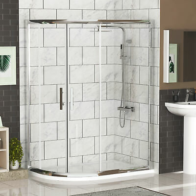 Left Entry 1200 x 800mm Offset Quadrant Safety Glass Shower Enclosure+Stone Tray