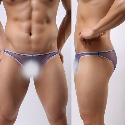 Mens Sexy Sheer Mesh Briefs Pouch Underwear Panties See-through Boxer Lingerie