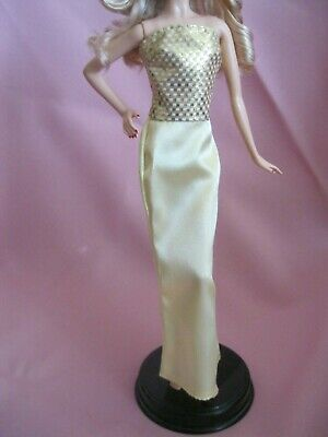 Barbie Clothes Dress Gown - Slinky Yellow And Gold (Doll Not Included)