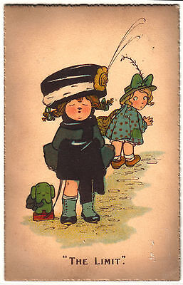 Old Postcard,  Children, Attitudes, Dressing Up, Rivalry, Fashion, Style. 1910.
