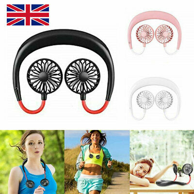 Personal Neckband Double Fan Hand Free Mini USB Wearable Fans Portable