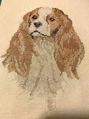 Vintage Completed Cross Stitch King Charles Cavalier Spaniel Dog Canine Sewing