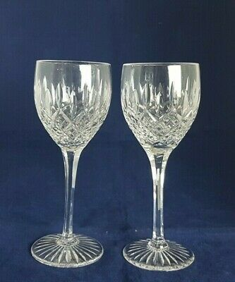 Pair of Beautiful Vintage Cut Glass / Crystal Wine Glasses (Height - 17.5 cm)