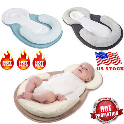 1× Portable Baby Pillow Sleep Cushion Pad Newborn Crib Bed Mattress Breathable