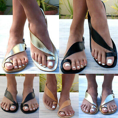 Womens Gladiator Sandals Low Heel Ladies Roman Summer Beach Flip Flop Flat Shoes