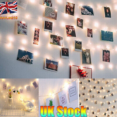 Photo Clip String Lights 20~100 LED Lights String Lights Clips Battery USB Dorm