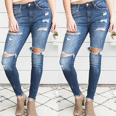 Womens Ripped Jeans Jeggings Ladies Mid Waisted Stretchy Skinny Pants Trousers