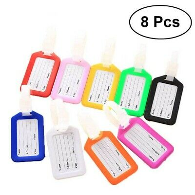 8 pcs Luggage Tag Suitcase Baggage Colorful ID Name Silicone Tag for Traveling