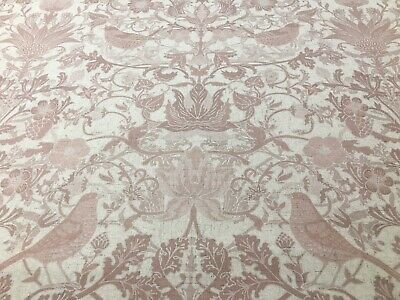 French Country Birds Toile Red Pink 280cm  Wide Curtain/ upholstery Fabric
