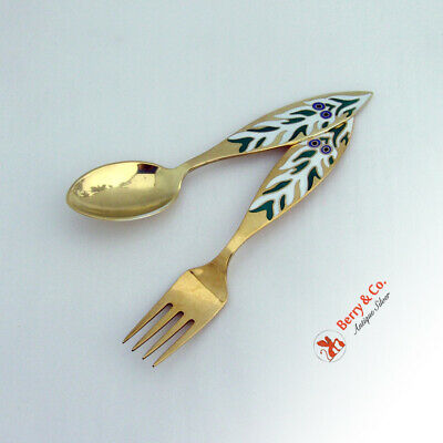 Mr Snowmans Christmas Tree Christmas Spoon Fork 1970  Michelsen Sterling