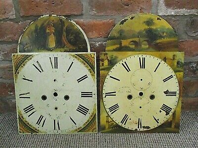 2 x ANTIQUE LONG CASE GRANDFATHER CLOCK FACES - HAND PAINTED