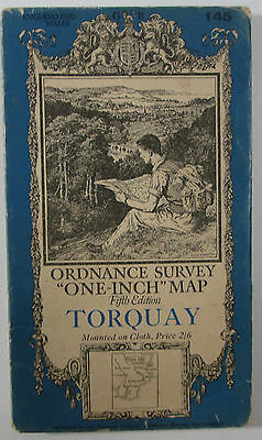 1937 old vintage OS Ordnance Survey one-inch Fifth Edition map 145 Torquay