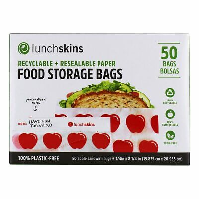 LunchSkins - Recyclable + Resealable Paper Food Storage Bags Apple Design