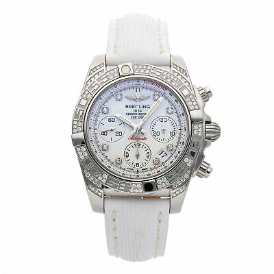 Breitling Chronomat 41 Steel Auto 41mm Diamonds Strap Tang Watch AB0140AF/A744