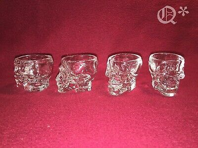 4 Crystal Skull shape Drinking Vodka Glasses