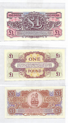 Three British Armed Forces £1 Banknotes  2nd, 3rd and 4th series
