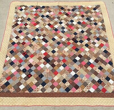 Ohio Farmhouse 1800'S Antique Calico Patchwork Sampler Quilt Brown Back Aafa