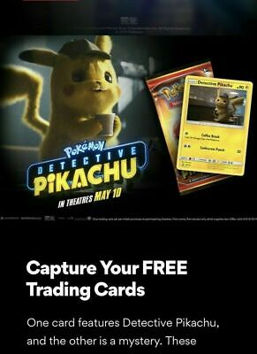 Amc Limited Promotion - Detective Pikachu Movie Trading Game 2 Card Pack - New!