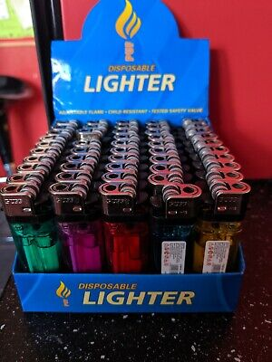 Disposable Lighters Gsd Child Safety Adjustable Flame 5 Colours!