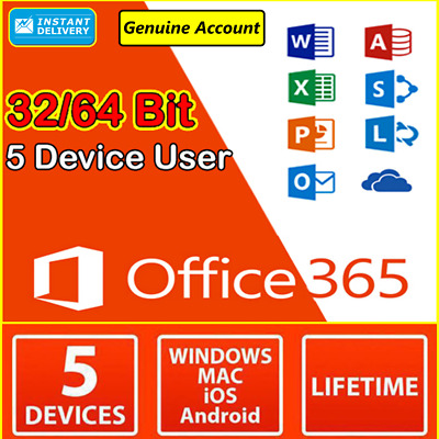 Microsoft Office 365 2016 2019 Pro PC/Mac 5TB user Lifetime INSTANT DELIVERY