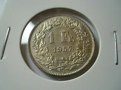 Switzerland Silver 1 Franc coin   1957 XF/High grade - SEE /13/F