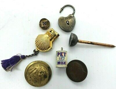 Junk Drawer Lot of Collect, Masonic Pin, Nail Clippers, Button, Lock, Pet Milk