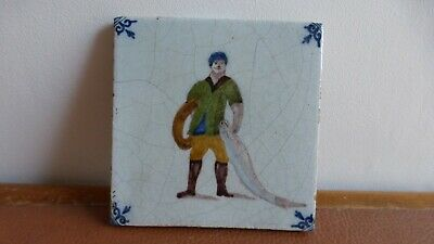 Antique polychrome Dutch Delft tile Ancien carreau polychrome Delft.fisherman 3