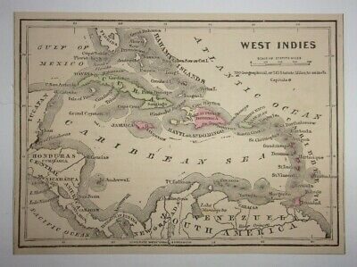 Antique 1873 Map of West Indies