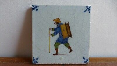 Antique polychrome Dutch Delft tile Ancien carreau polychrome peddler  .6