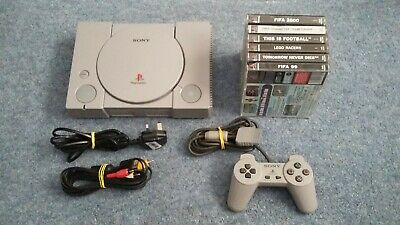 Sony Playstation 1/PS1 Console With 6 Games Tested And Working 007/Lego/Fifa